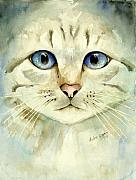 Cat Portrait Posters - Blue-Eyed Cat Poster by Arline Wagner