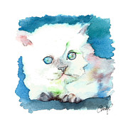 Persian Cat Paintings - Blue Eyed Kitten by Christy  Freeman