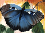 African-american Mixed Media Prints - Blue Eyes Butterfly Print by Anthony Burks