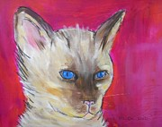 Contemporary Animal  Acrylic Paintings - Blue Eyes by MaryAnn Ceballos