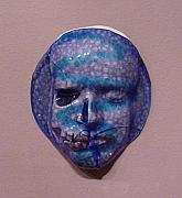 Ceramic Mixed Media - Blue face by David Morgan