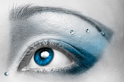 White Metal Prints - Blue Female Eye Macro with Artistic Make-up Metal Print by Oleksiy Maksymenko