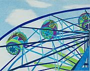 Wheel Drawings Prints - Blue Ferris Wheel Print by Glenda Zuckerman