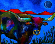 Longhorn Paintings - Blue Field by Patti Schermerhorn