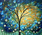 Gold Trees Framed Prints - Blue Fields Abstract Artwork MADART Framed Print by Megan Duncanson