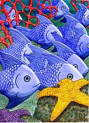 Coral Reef Posters - Blue Fish Poster by Catherine G McElroy