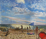 Sunbathing Prints - Blue flag and red sun shade Print by Andrew Macara