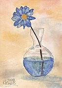 Watercolor Sketch Framed Prints - Blue Flower and Glass Vase Sketch Framed Print by Ken Powers