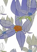 Moignard Prints - Blue Flower Print by Barbara Moignard