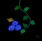 Rand Herron - Blue Flower Butterfly