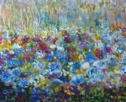 Wax Mixed Media Posters - Blue Flower Fields Poster by Peg Bachenheimer