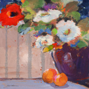 Sheila Golden - Blue Flower with Oranges