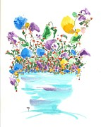 Flood Drawings Posters - Blue Flowers And Vase Poster by Darlene Flood
