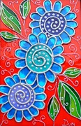 Paint Glass Art - Blue Flowers by Danuta Duminica
