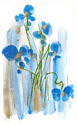 Flood Drawings Prints - Blue Flowers Print by Darlene Flood