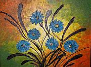 Xafira Mendonsa Prints - Blue Flowers for True People Print by Xafira Mendonsa