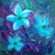 Gina Gray Paintings - Blue Flowers by Gina De Gorna