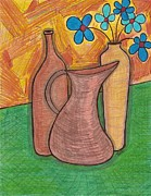 Wine Drawings - Blue Flowers by Ray Ratzlaff