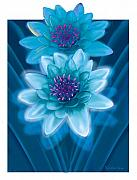Botanical Pastels Metal Prints - Blue Flowers Metal Print by Valerian Ruppert
