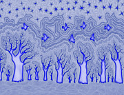 Escape Drawings Metal Prints - Blue Forest Metal Print by James Davidson