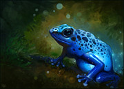 Amphibians Digital Art Metal Prints - Blue Frog Metal Print by Caroline Jamhour