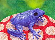Frog Metal Prints - Blue Frog Metal Print by Catherine G McElroy