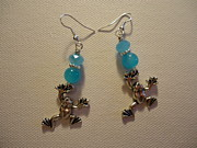 Blue Art Jewelry Prints - Blue Frog Earrings Print by Jenna Green