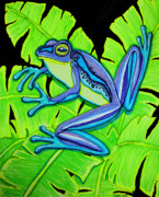 Whimsical Frogs Posters - Blue Frog Poster by Nick Gustafson