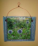Picture Glass Art Originals - Blue Fused Glass Picture Frame by Cydney Morel-Corton