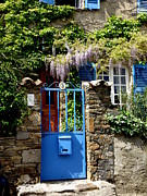 France Doors Posters - Blue Garden Gate Poster by Lainie Wrightson