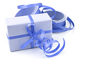 Ribbon Posters - Blue gift Poster by Blink Images