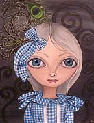 Big Eyed Art Framed Prints - Blue Gingham and Peacock Feathers Framed Print by Jaz Higgins