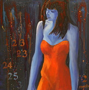 Strapless Dress Painting Posters - Blue Girl in Red Dress Poster by Lynn Chatman
