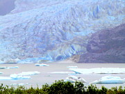 Landscapes Digital Art Prints - Blue Glacier Print by Mindy Newman