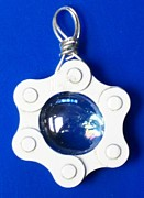 Bicycle Jewelry - Blue glass in chain by Leeah Borner