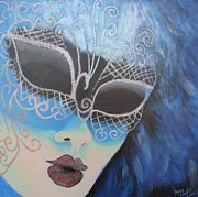 Mardi Gras Paintings - Blue Glitz by Julie Cranfill