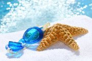 Summertime Digital Art - Blue goggles on a white towel  by Sandra Cunningham