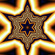 Blue Gold Star Print by Linda  Smith