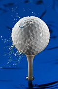 Game Photo Prints - Blue Golf Ball Splash Print by Steve Gadomski