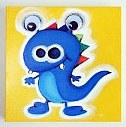 Extinct And Mythical Pastels Originals - bLUE gOOGLY eYE mONSTER by Mara Morea