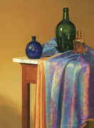 Wine Bottles Pastels - Blue Green and Gold by Barbara Groff