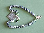 Music Jewelry - Blue green and white rope weave with sterling fairy pendant by Susan Anderson