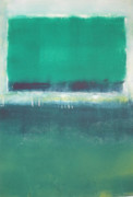 Rothko Painting Originals - Blue Green by Bonnie AuBuchon
