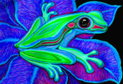 Whimsical Frogs Posters - Blue Green Frog Poster by Nick Gustafson