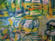 Grid Paintings - Blue Green in a Grid by Joan Norris