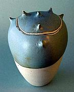 Wheel Thrown Ceramics Originals - Blue Grey Spike Jar by Skip Bleecker
