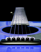 Country Digital Art Metal Prints - Blue Guitar 14 Metal Print by Andee Photography