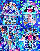 Engagement Digital Art Prints - Blue Hamsa Print by Sandra Silberzweig