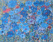 Malerei Art - Blue Happening In My Garden by Suzeee Creates