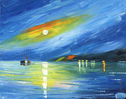 Amor Paintings - Blue Harbor by Ash Hussein